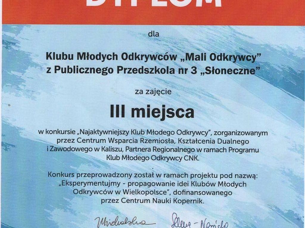 Dyplom Klub Mali Odkrywcy konkurs